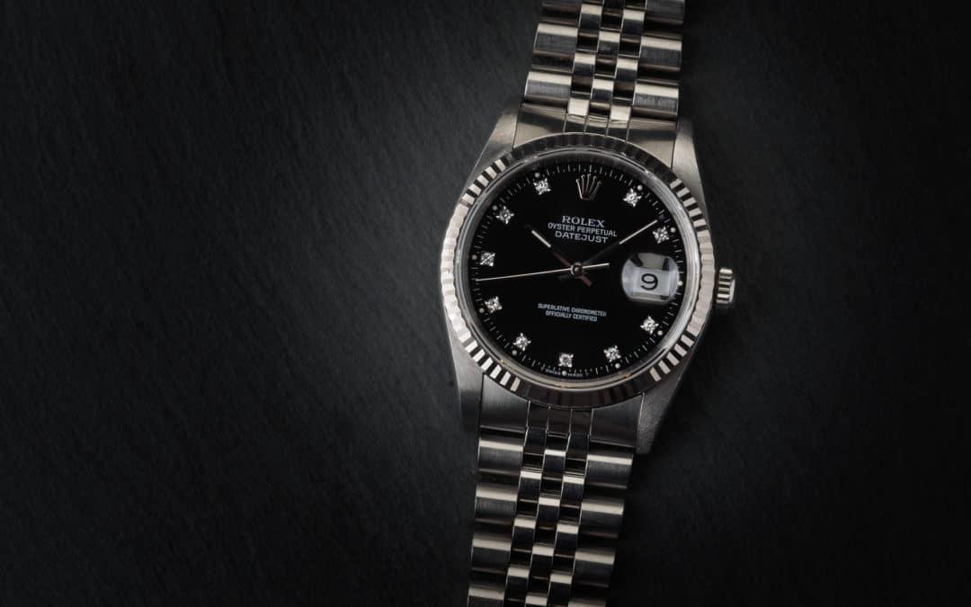 Rolex Date Just in acciaio con diamanti Ref. 16234