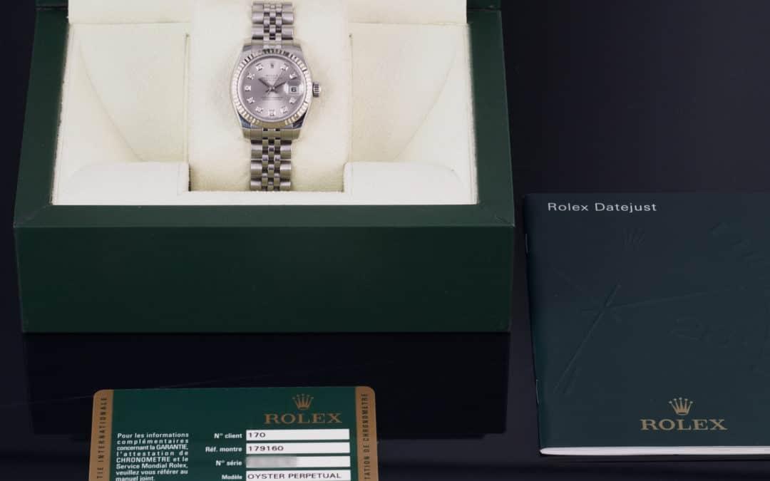 Rolex Lady Date Just in acciaio con diamanti Ref. 179174