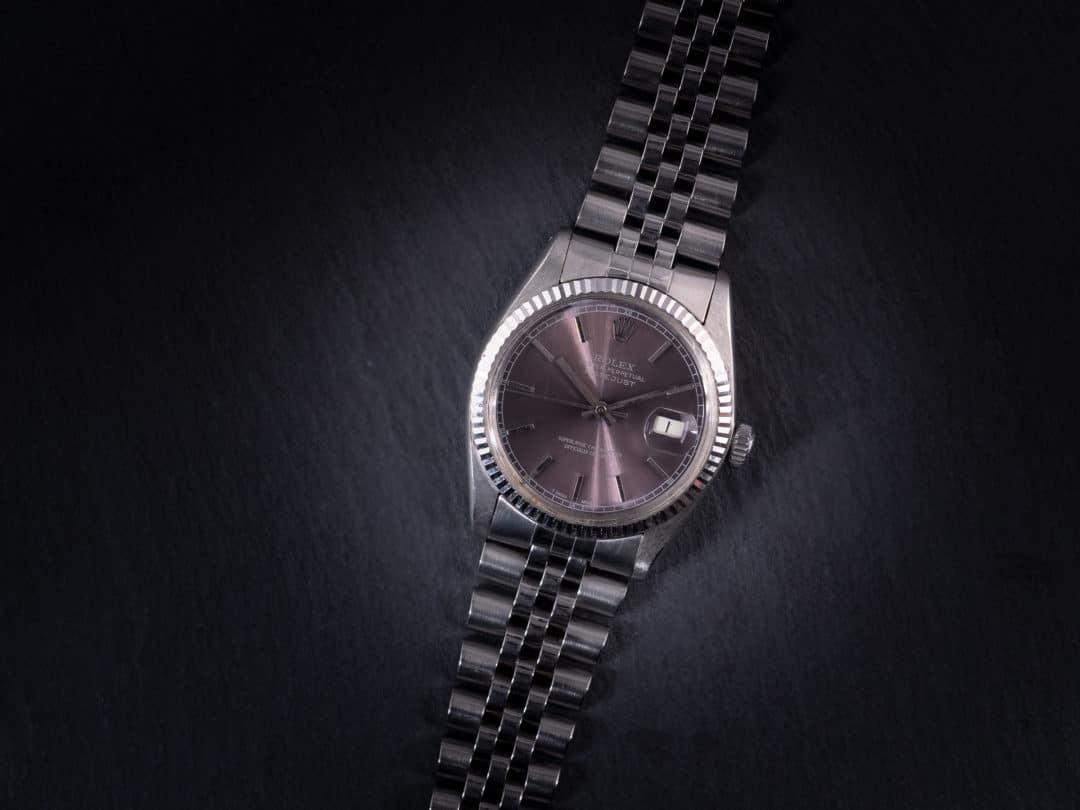 Rolex Date Just in acciaio con ghiera in oro bianco Ref. 16014